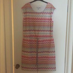 Multicolor Chevron Print Knit Dress